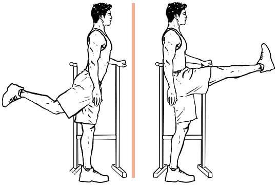 leg swing front to back  comme exercice d'échauffement de sport